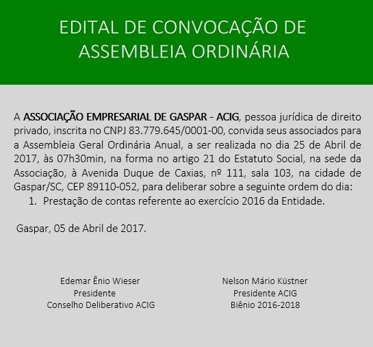 Edital de Convocação para Assembleia Ordinária