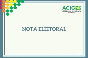 Nota Eleitoral para registro de chapas